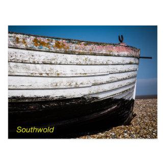 浜に引き上げられたボート ポストカード