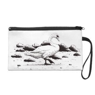 浜に引き上げられた白鳥のペン及びインク鳥のスケッチ リストレット