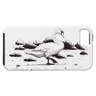 浜に引き上げられた白鳥のペン及びインク鳥のスケッチ iPhone SE/5/5s ケース