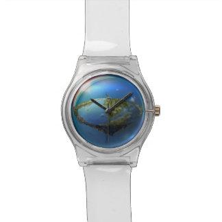 浮遊平らな地球のファンタジーの腕時計 腕時計