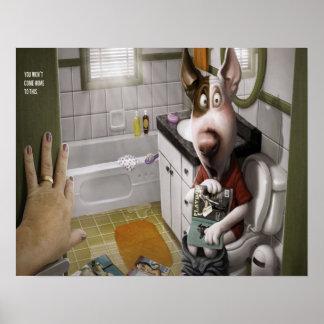 浴室のおもしろいで、かわいい犬 ポスター
