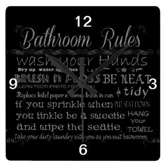浴室の規則 スクエア壁時計