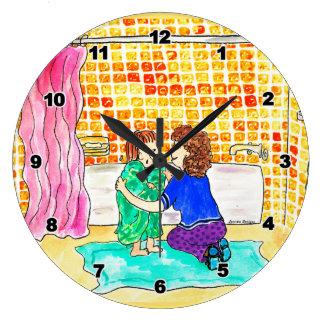 浴室は時計をからかいます ラージ壁時計