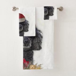 浴室タオルのクリスマスのPoodlelセット バスタオルセット
