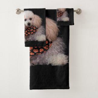 浴室タオルのハロウィンのプードル犬セット バスタオルセット