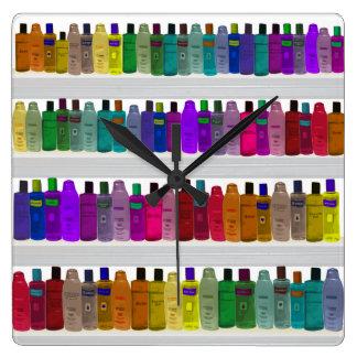 -浴室、サロン等のための…ボトルの虹を石鹸で洗って下さい スクエア壁時計
