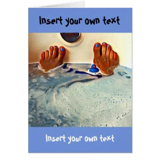 浴槽の泡はゴム製アヒル犬のつま先をリラックスします カード