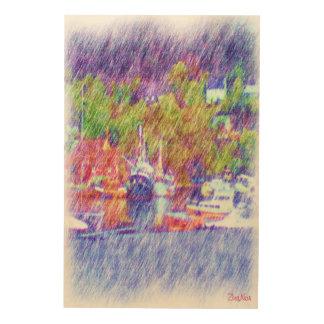 海およびボートのスケッチ ウッドウォールアート