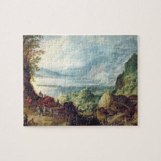 海および山(キャンバスの油)との景色 ジグソーパズル