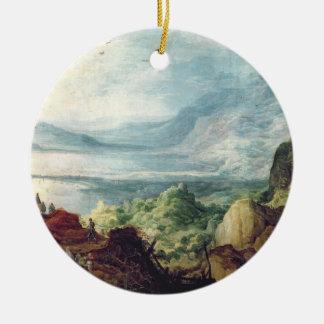 海および山(キャンバスの油)との景色 セラミックオーナメント