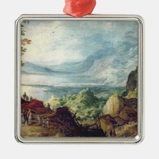 海および山(キャンバスの油)との景色 メタルオーナメント