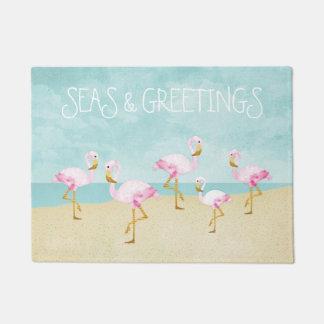海および挨拶の水彩画のピンクのフラミンゴ ドアマット