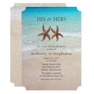 海および砂のカップルのウェディングシャワー 12.7 X 17.8 インビテーションカード
