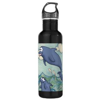 海で遊んでいる漫画のイルカの友人は水をまきます ウォーターボトル