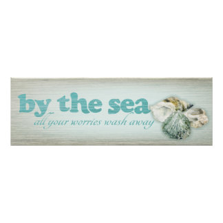 海によってあなたの心配はすべて遠くにな貝のプリントを洗浄します ポスター