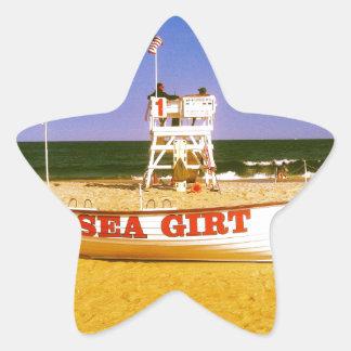 海によって授けられるライフガードのボート 星シール