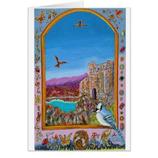 海によるイタリアンな城の窓 カード