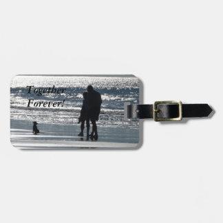 海によるカップルそして犬- Personalizable ラゲッジタグ