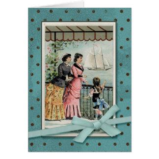 海によるビクトリアンな女性及び女の子 グリーティングカード