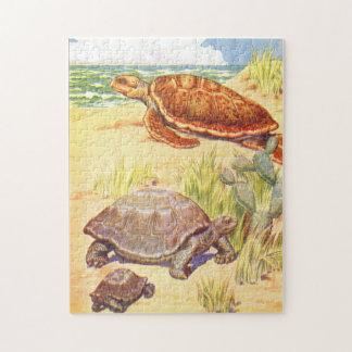 海によるヴィンテージの児童図書のイラストレーションのカメ ジグソーパズル