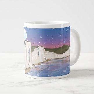 海による日没の崖 ジャンボコーヒーマグカップ