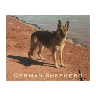 海による木製の芸術のプリント|のジャーマン・シェパード犬 ウッドウォールアート