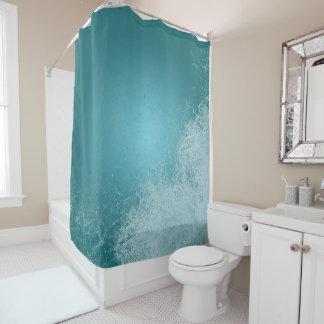 海のしぶきの平静の青の波 シャワーカーテン