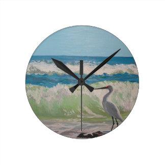 海のアートワークによる鷲 ラウンド壁時計