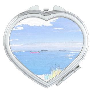 海のイメージのハートの形のコンパクトの鏡の船