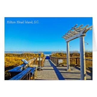 海のオートムギおよび波! Hilton Head Island SC ノートカード
