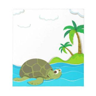 海のカメの水泳 ノートパッド