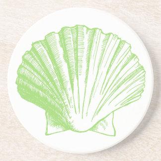 海のガラス緑の貝殻のコースター コースター