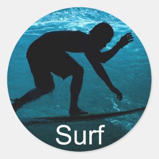 海のサーファー ラウンドシール