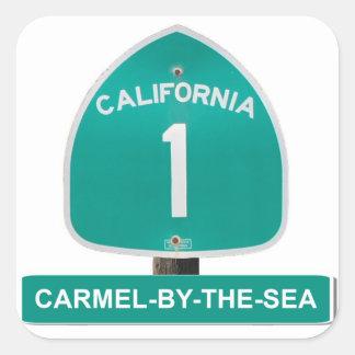 海のステッカーによるカリフォルニアハイウェー1 Carmel 正方形シール・ステッカー