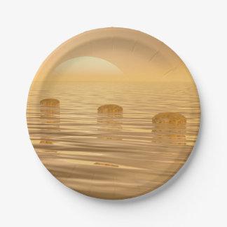 海のステップ- 3Dは描写します ペーパープレート