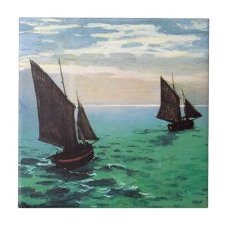 海のタイルのMonetの漁船 タイル