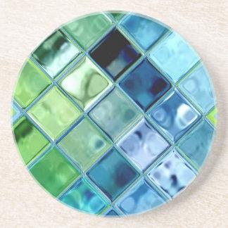 海のティール(緑がかった色)のガラスモザイク・タイルの芸術 コースター