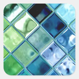 海のティール(緑がかった色)のガラスモザイク・タイルの芸術 スクエアシール