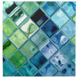海のティール(緑がかった色)のガラスモザイク・タイルの芸術 ナプキンクロス