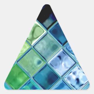 海のティール(緑がかった色)のガラスモザイク・タイルの芸術 三角形シール