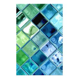 海のティール(緑がかった色)のガラスモザイク・タイルの芸術 便箋