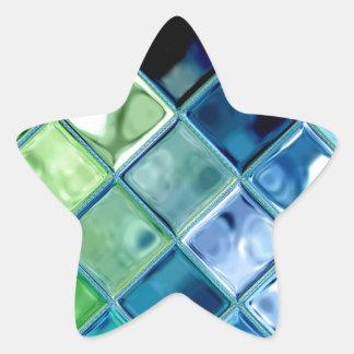 海のティール(緑がかった色)のガラスモザイク・タイルの芸術 星シール