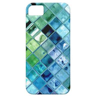 海のティール(緑がかった色)のガラスモザイク・タイルの芸術 iPhone SE/5/5s ケース