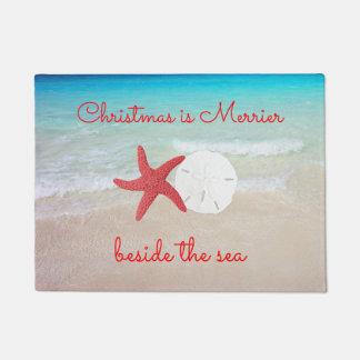 海のドア・マットによってよりメリーなビーチのクリスマス ドアマット