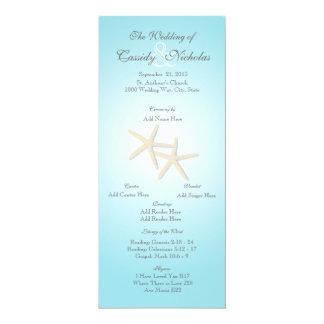 海のヒトデの結婚式プログラムプログラム・カード 10.2 X 23.5 インビテーションカード