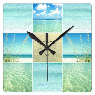 海のビーチのコラージュの柱時計 スクエア壁時計