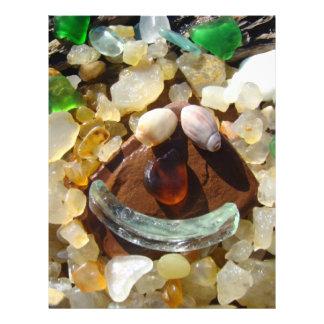 海のビーチのスクラップブックの紙のスマイリーフェイスの瑪瑙 レターヘッド