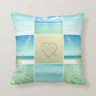 海のビーチの写真のコラージュの枕 クッション