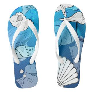 海のビーチの貝殻FF ビーチサンダル