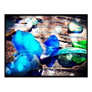 海のビーチガラスの郵便はがきの宝石 ポストカード
